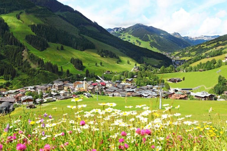 Ein Ausblick auf den Ort Saalbach mit einer bunten Blumenwiese im Vordergrund